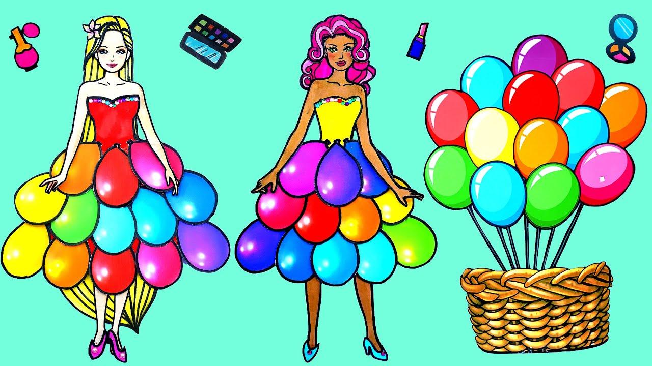 Paper Dolls Dress Up ~ Rapunzel Color Bubble Dress Shoes & Accessories Quiet Book ~ Dolls Beauty