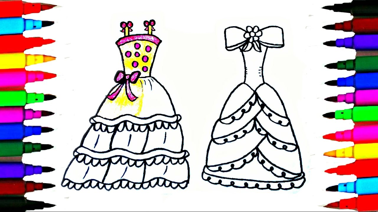Coloring Pages Princess Dresses L Drawing To Color For Kids Learn Rainbow Colors