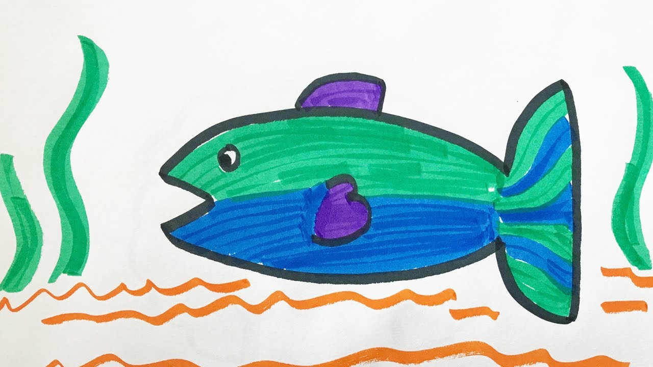 How To Draw And Color A Fish For Kids Youtube