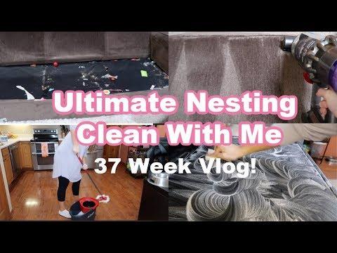 EXTREME NESTING | 37 WEEK PREGNANCY VLOG | CLEAN WITH ME | Felicia Keathley