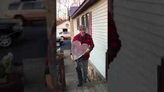 Husband surprises wife with frozen heart he carved with a chainsaw