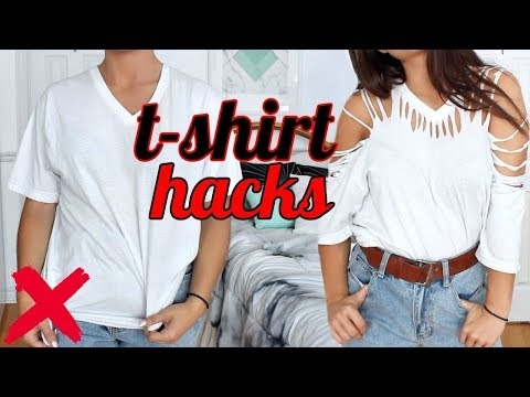 4 T-SHIRT HACKS EVERY Girl SHOULD Know | How to Transform your OLD T SHIRTS !! (NO SEW)