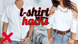4 T-SHIRT HACKS EVERY Girl SHOULD Know   How to Transform your OLD T SHIRTS !! (NO SEW)