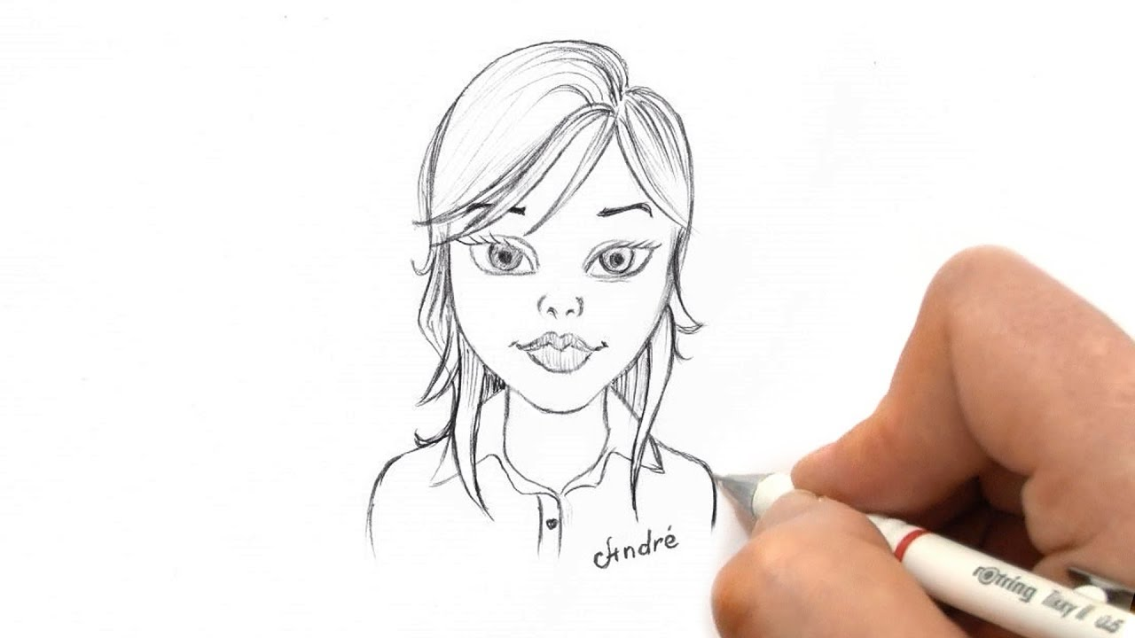 how to sketch a simple face of a beautiful girl cartoon pencil sketch for beginners [ 1280 x 720 Pixel ]
