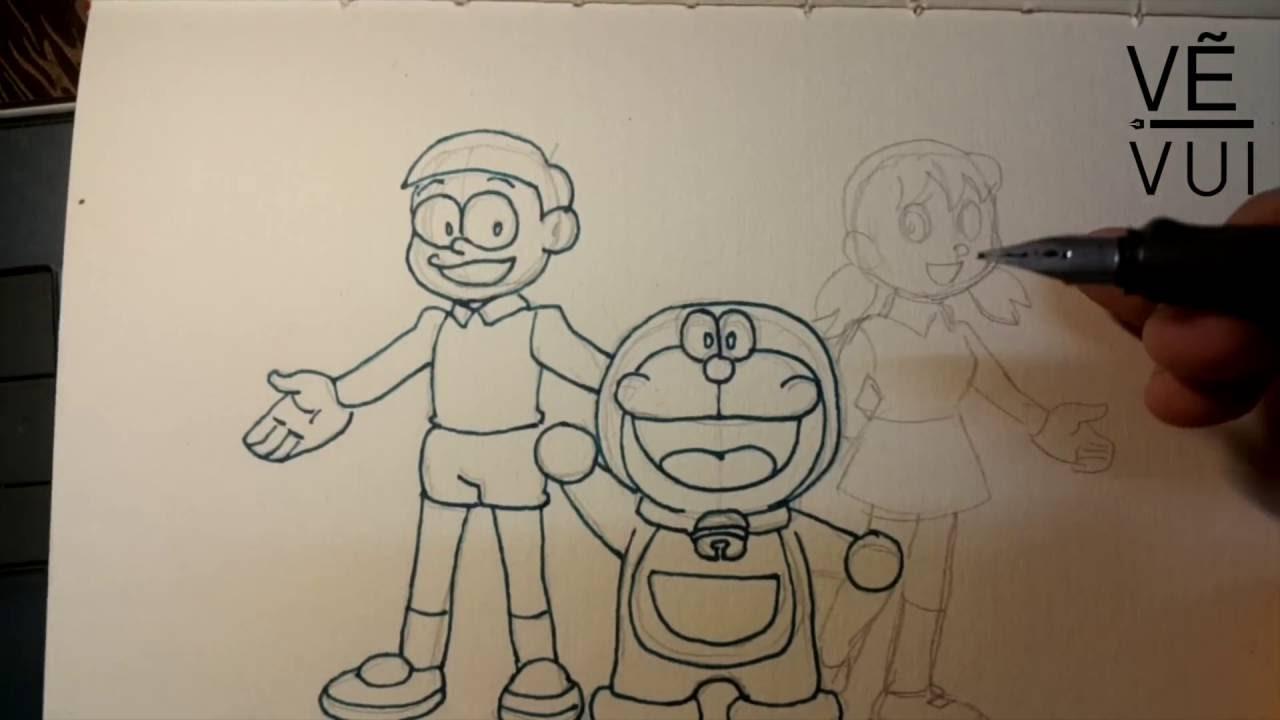 How To Draw Nobita Doraemon And Shizuka Hướng Dẫn Vẽ Nobita đôremon Xuka