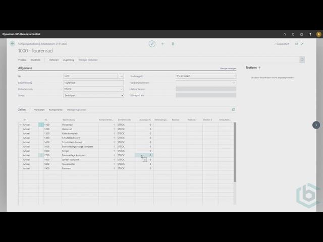 Business Central - Die Fertigungsstückliste