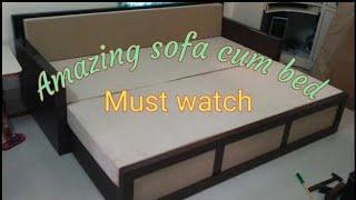 Sofa cum bed   space saving sofa   space saving furniture   wooden and simple sofa cum bed