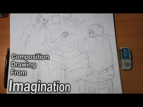 how-to-draw-figurative-composition-in-pencil-  -indoor-games-painting-bfa-composition-drawing