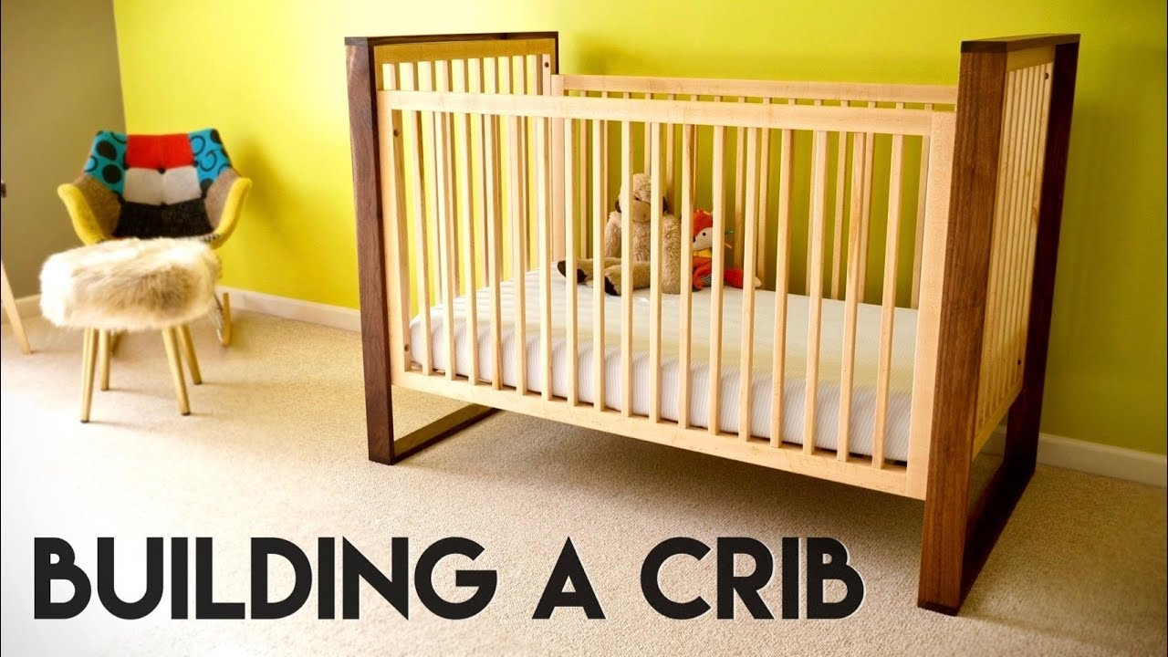 Mid Century Modern Walnut And Maple Baby Crib // How To   Woodworking