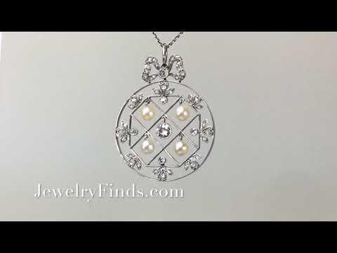 Antique Diamond Edwardian Old European Cut Diamond Seed Pearl  Necklace Pendant Platinum