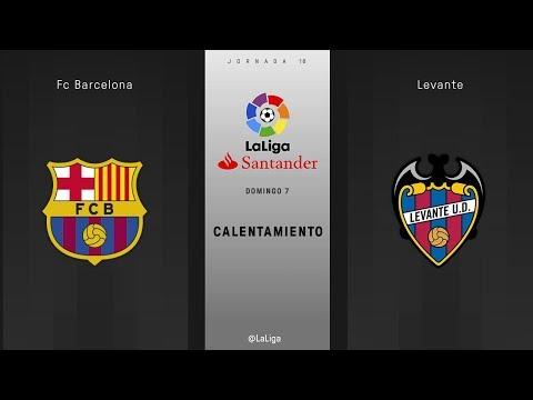 Calentamiento FC Barcelona vs Levante