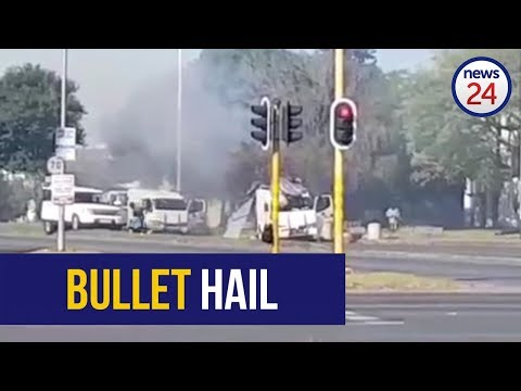 WATCH: Bullets fly as robbers attack two cash-in-transit vans in Boksburg