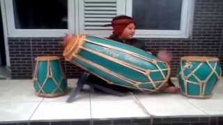 Amazing Little Player Kendang, Musical Instrument From Indonesia