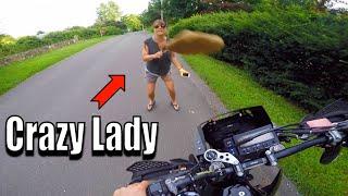 Crazy Lady Vs Dirt Bike