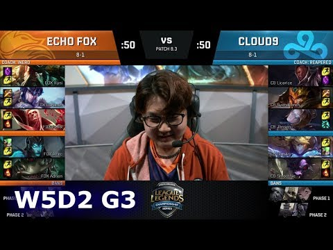 Echo Fox vs Cloud 9 | Week 5 Day 2 of S8 NA LCS Spring 2018 | FOX vs C9 W5D2 G3