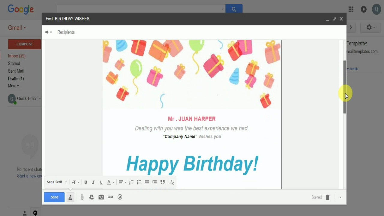 birthday real estate professional email template - Professional Email Template