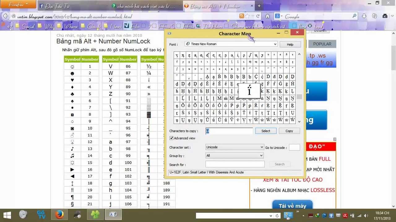 Gõ các ký tự đặc biệt bằng bảng mã Alt và Character Map
