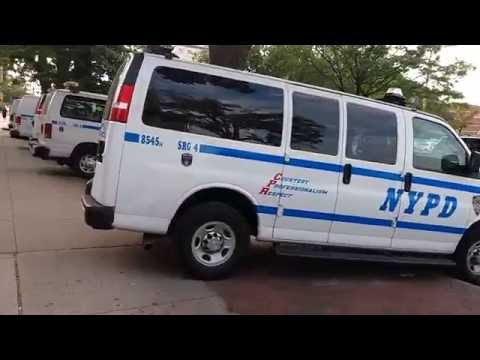 NYPD SRG 4 Parked Outside Their Station House In Flushing, Queens, New York