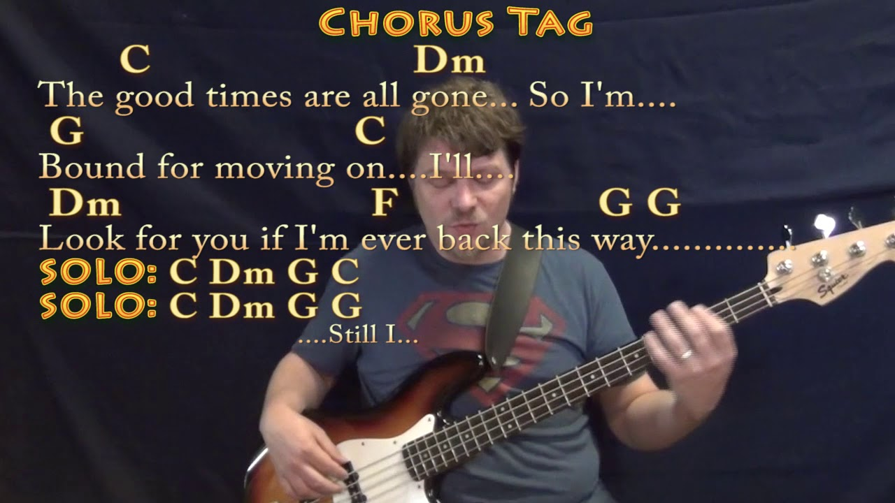 Four Strong Winds Neil Young Bass Guitar Cover Lesson In C With