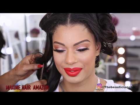 SEW IN SOFT  GLAM BRIDAL INPIRED HAIR AND MAKEUP TRANSFORMATION|MAXINE HAIR AMAZON#LONDON #UK