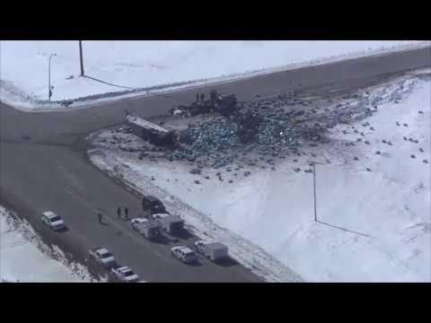 Aerial view of Saskatchewan bus tragedy