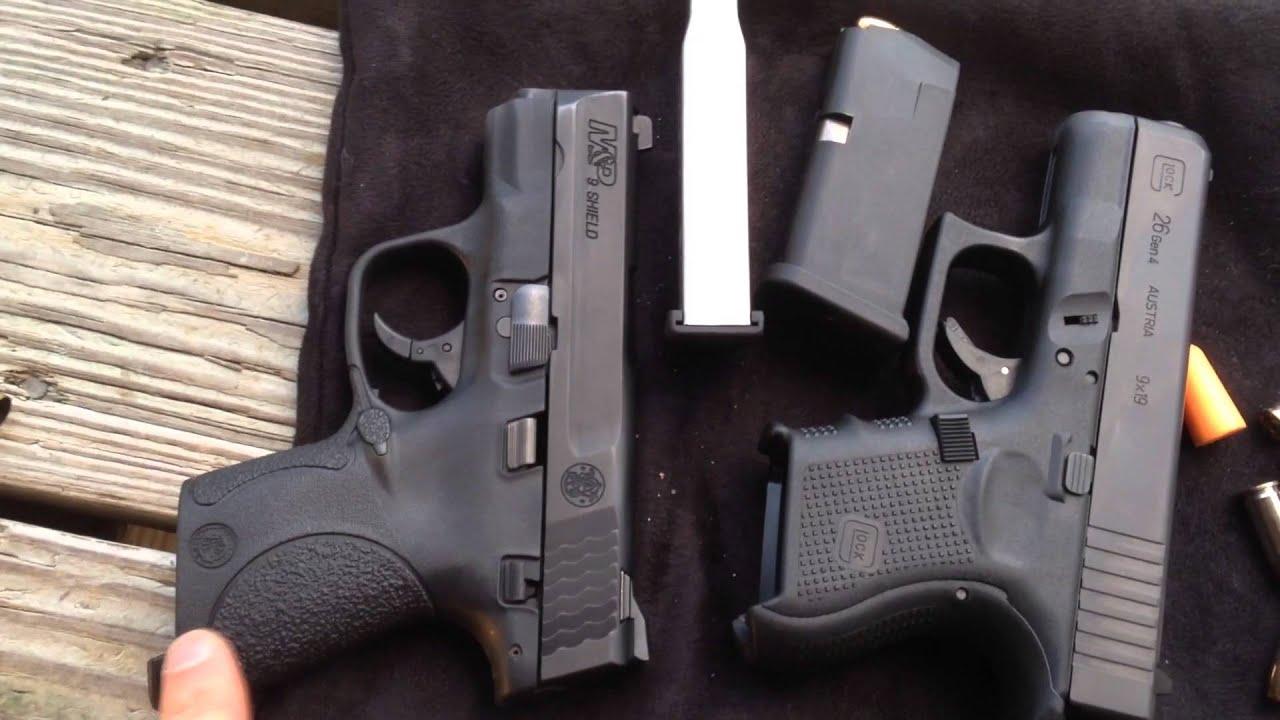 Glock G26 vs Smith Wesson Shield 9mm recoil size magazine ...