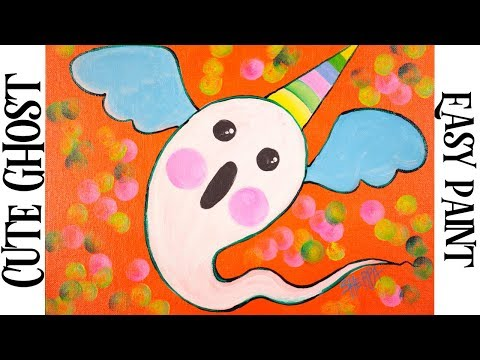 Easy Painting in acrylic CUTE Adorable Ghost
