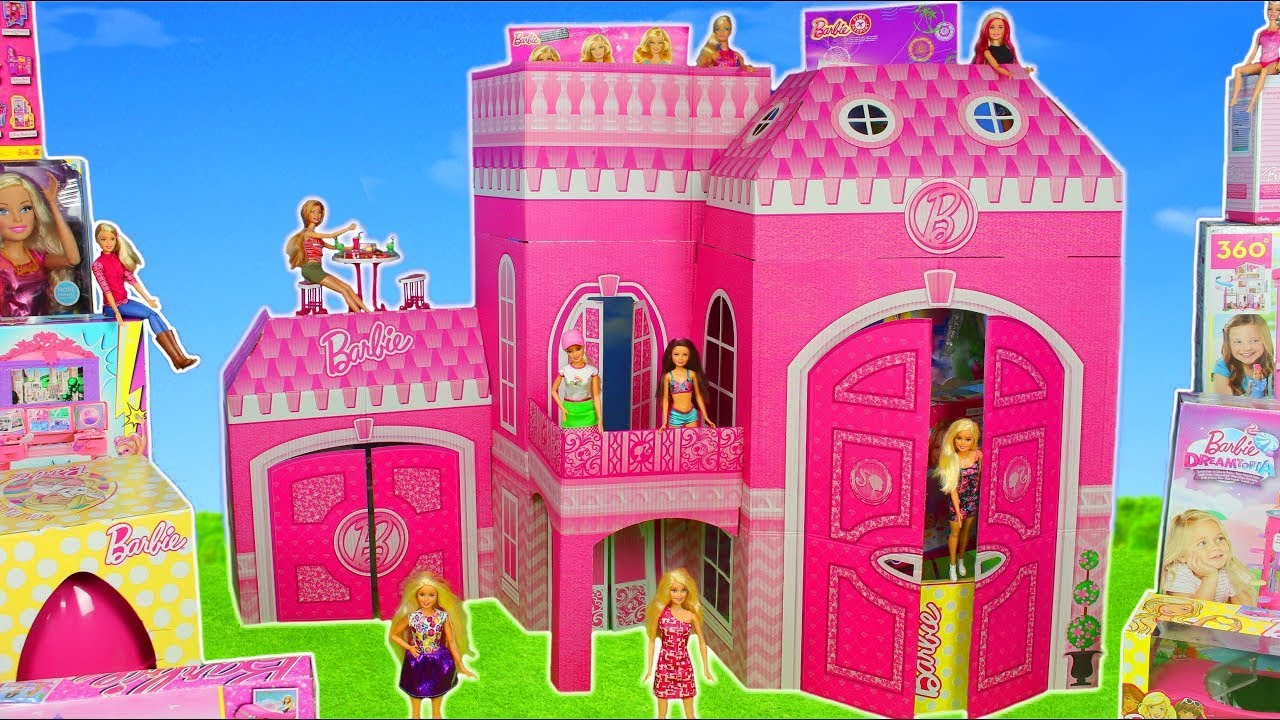 Barbie Dolls Hello Dreamhouse Dollhouse W Kitchen: Barbie Dolls: Giant Dreamhouse Dollhouse W/ Toy Surprise