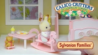 Sylvanian Families Calico Critters Nightlight Nursery Set Unboxing Set up Cloverleaf Manor Toys