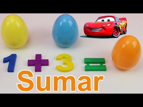 Aprender a sumar para niños con coches sorpresa de Cars | Vídeo educativo para niños en español