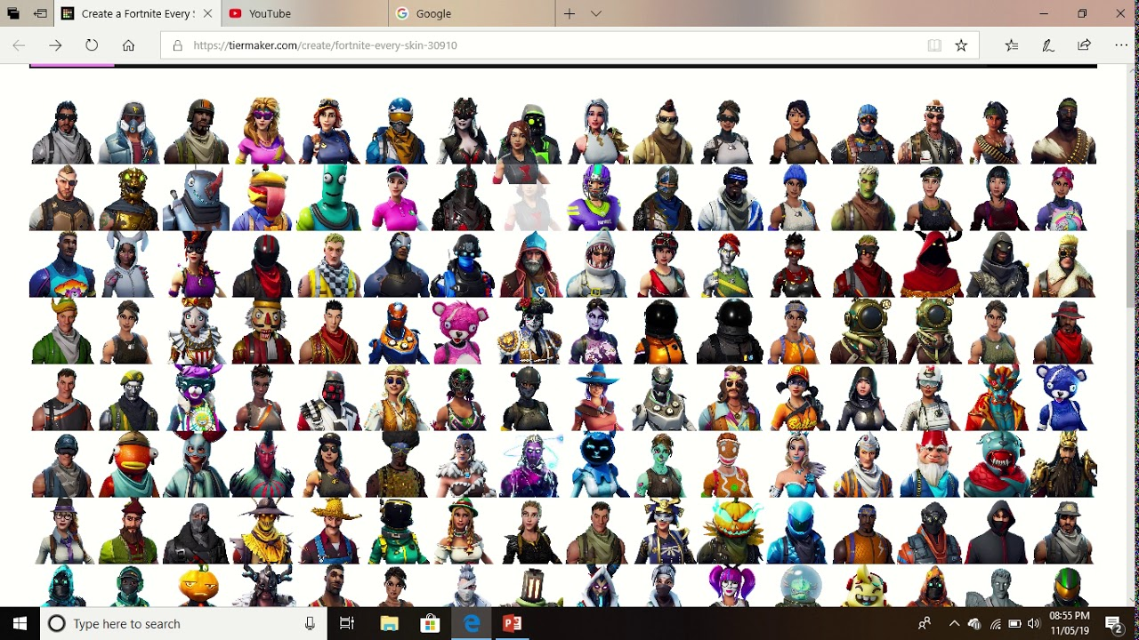 Fortnite Every Skin Tier List Maker (My Version)