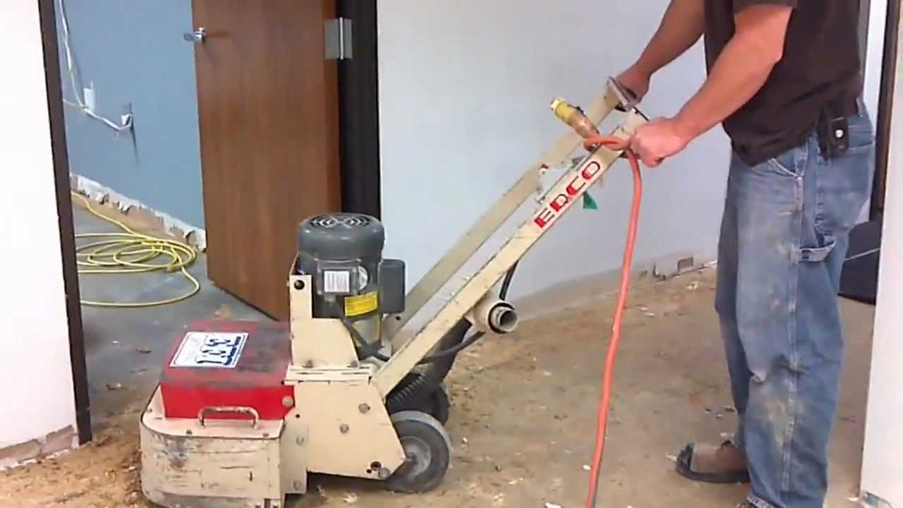 Removing carpet glue from concrete floor youtube for How to clean cement floor