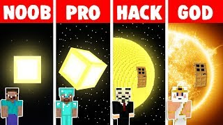 Minecraft NOOB vs PRO vs HACKER vs GOD: SUN BASE CHALLENGE in minecraft - Animation
