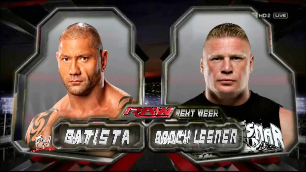 Brock Lesnar Vs Batista 2013 WWE RAW BATISTA VS BRO...
