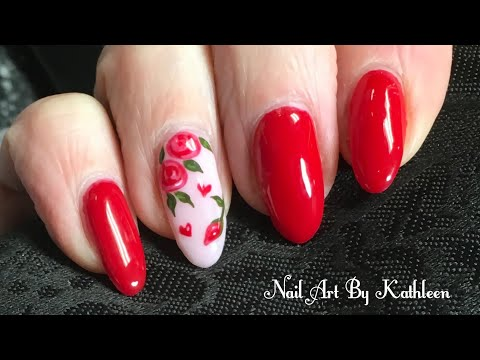 Valentine's Day Nails - Freehand Roses And Hearts Nail Art Tutorial thumbnail