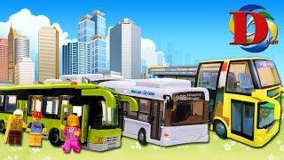 Открываем игрушки машинки: Автобус и Туристический автобус/Обзор игрушки - Городской транспорт.