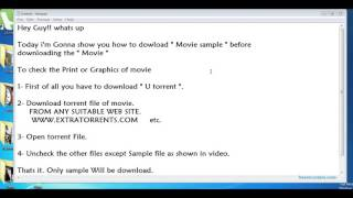 How to download Movie Sample