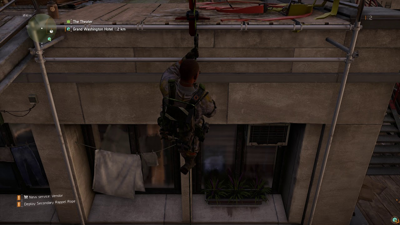 The Division 2 - The Theater: Deploy Rappel Rope From Rooftop and Rappel  Down Gameplay (2019)