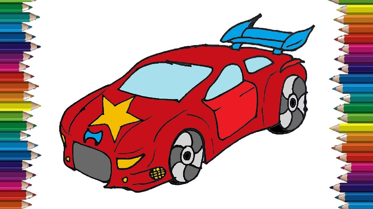 How To Draw A Race Car Step By Step Easy Car Drawing And Coloring Youtube