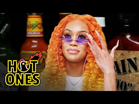 Saweetie Almost Tap Tap Taps Out While Eating Spicy Wings   Hot Ones