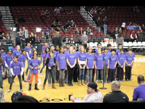 Findley Elementary School Choir sings Agents of Change at Portland Trailblazers Dec 2013