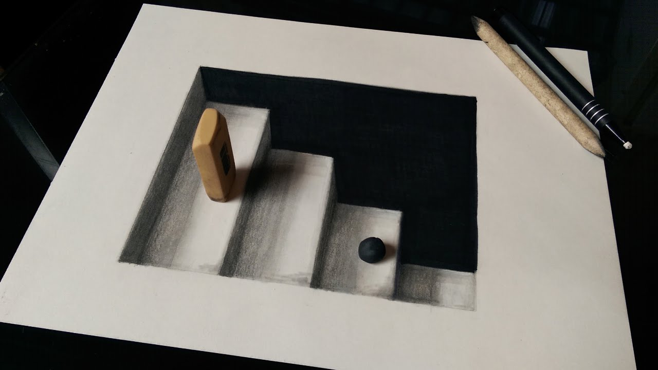 How to Draw 3D Stairs (3D Ladders) - Optical Illusion - YouTube