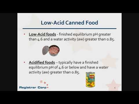 U.S. FDA Regulations for Low-Acid Canned and Acidified Foods