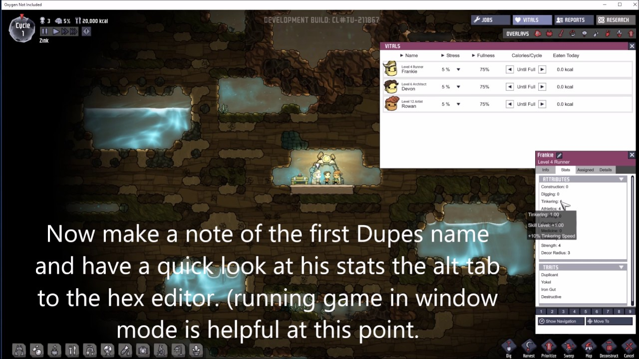 A quick and Dirty guide to Stat Editing in Oxygen not Included (No longer  works)