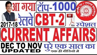 Last One Year Top-1000 Current Affairs Hindi ,Railway ALP/TECHNICIAN Exam ,DEC 2017 To NOV 2018