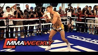 Conor McGregor Shows Off Fancy Footwork Training for Floyd Mayweather thumbnail