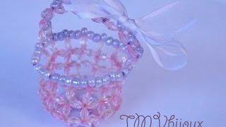 Repeat youtube video Como fazer lembrancinha maternidade - Cestinho com cristais e miçangas