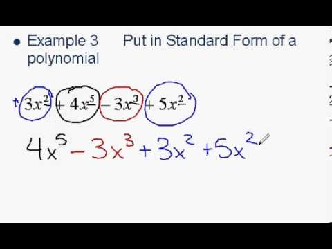 Ordering A Polynomial In Standard Form Youtube