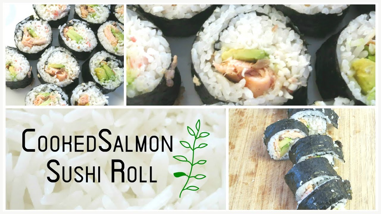 Cooked salmon sushi roll