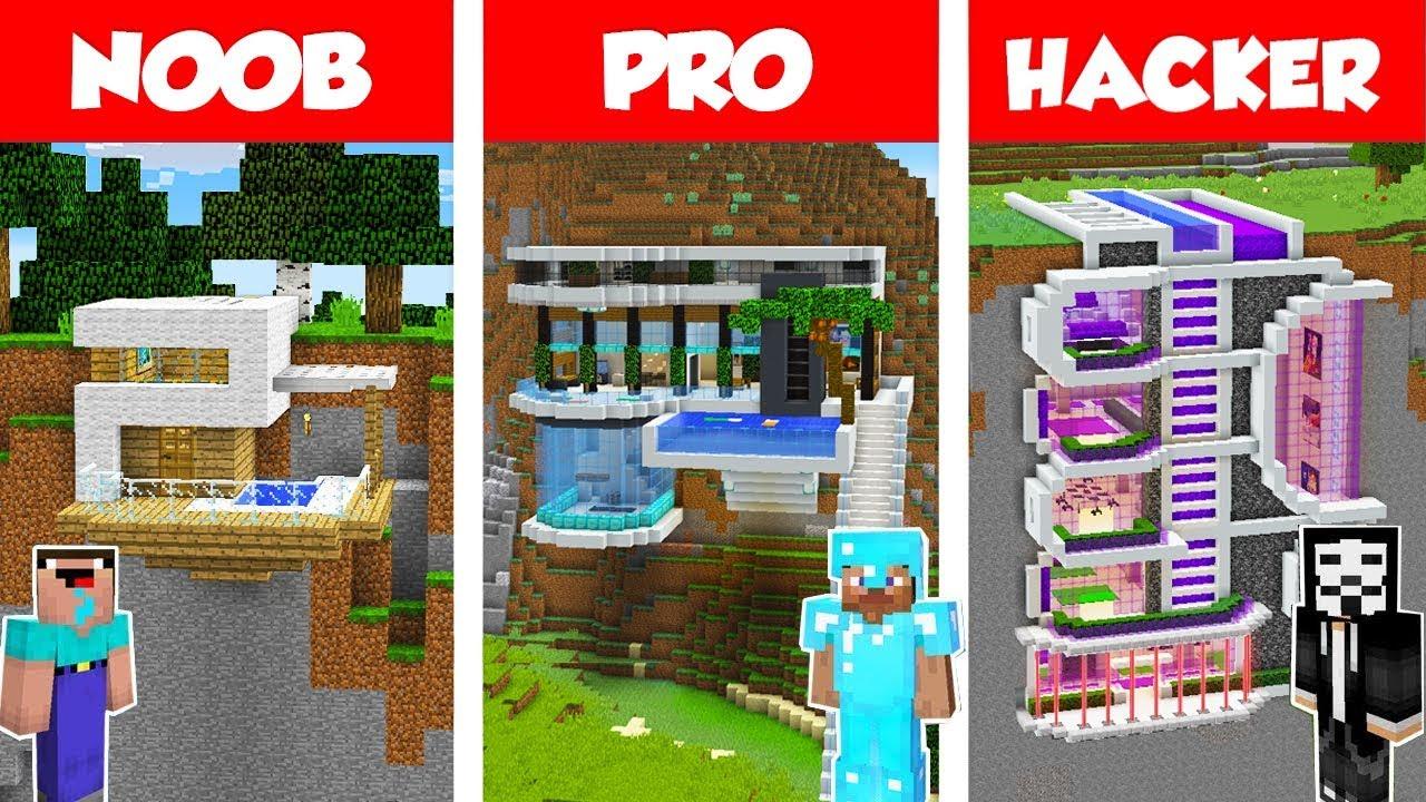 Minecraft NOOB vs PRO vs HACKER: MODERN MOUNTAIN HOUSE BUILD CHALLENGE in Minecraft 2 / Animation